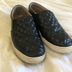 Black Quilted Slip-On Sneakers